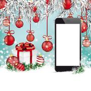 Christmas Red Baubles Frozen Twigs Snow Smartphone Stock Illustration