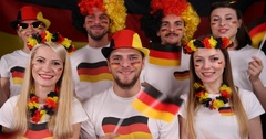 Cheerful Group German Football Supporters Smile Happy Fans Waving Germany Flags Stock Footage