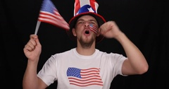 Happy American Supporter Man Jump Cheerful Sport Fan Smile Shouting Ovation USA Stock Footage