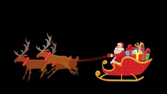 Cartoon Animated Santa Sleigh Ride with Alpha Stock Footage