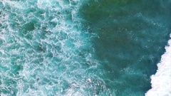 Beautiful turquoise Ocean Waves. Aerial top view. Bali, Indonesia Stock Footage