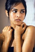 Beauty latin young woman in depression, hopelessness look, fashi Stock Photos