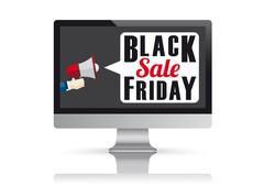 Black Friday PC Monitor Mockup Mirror Stock Illustration