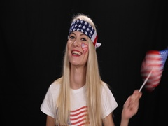 Attractive American Supporter Waving Flag Young Woman Smiling Celebrate Game Win Stock Footage