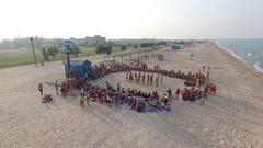 Group Choreography on The Beach. Stock Footage