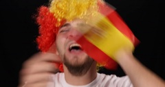 Cheerful Spanish Supporter Man Goal Cheering Sport Championship Football Match Stock Footage