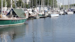 CAEN, FRANCE - JULY 2016 Port de Plaisance old town marina by the day Stock Footage