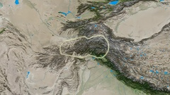 Zoom into Hindu Kush mountain range - glowed. Satellite imagery Stock Footage