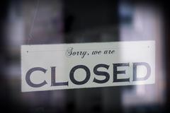 Sign saying sorry we are closed Stock Photos