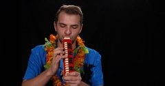 Hawaii World Music Musician Man Play Melodica Keyboard Harmonica Exotic Music Stock Footage
