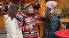 Portrait of Laughing Girlfriends Having Fun on the Christmas Market. Happy Stock Footage