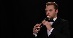 Young Instrumentalist Man Sing Flutist Singer Play Solo Recorder Flute Symphony Stock Footage