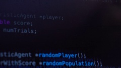 Programming code running down over computer screen terminal Stock Footage