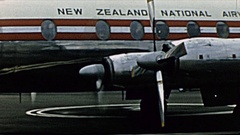 New Zealand 1965: aircraft in the strip of the airport Stock Footage