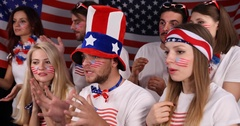Fanatic American Supporters Excitement People Emotion Looking Sport Competition Stock Footage