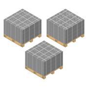 Isometric wooden pallet with cinder blocks, vector illustration. Stock Illustration
