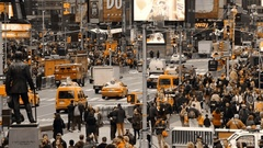 Car Traffic in New York City and Crowds of People. Only Yellow Color Stock Footage