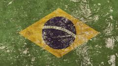Old grunge faded Federative Republic Brazil flag Stock Illustration