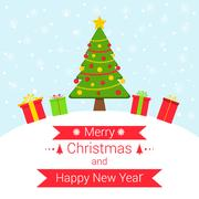 Snowy winter festive background with Christmas elements. Stock Illustration