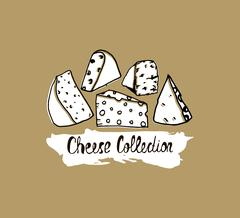 Hand drawn cheese background. Vector illustration of cheese in vintage styl.. Piirros