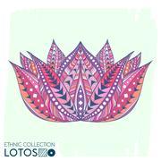 Lotos flower ethnic, tribal style. Boho  print. Trendy high detailed cactus.. Piirros