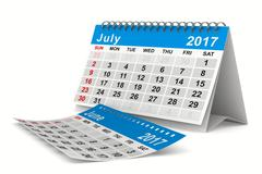 2017 year calendar. July. Isolated 3D image Stock Illustration