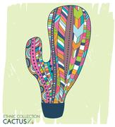 Cactus ethnic, tribal style. Boho mexican print. Trendy high detailed cactu.. Piirros