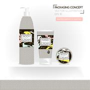 Packing concept in monochrome style. Three realistic cosmetic tube and jar .. Stock Illustration