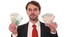 Business Man Show Emirati Dirham Bills Money vs Euro Banknotes Exchange Rate Day Stock Footage