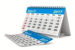 2017 year calendar. April. Isolated 3D image Stock Illustration