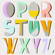 Modern alphabet in geometric memphis style. Trendy retro style type. Vector.. Stock Illustration