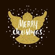Marry Christmas- Silhouette of a Christmas Angel with unique lettering. Han.. Stock Illustration