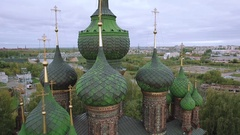 Dome of the Church of St. John the Baptist in Yaroslavl, Russia. Aerial shot Stock Footage
