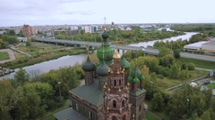 Aerial shot Yaroslavl and Church of St. John the Baptist. Golden ring of Russia Stock Footage