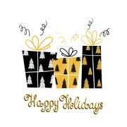 Happy Holidays- unique holiday handwritten lettering and gifts. Winter mode.. Stock Illustration
