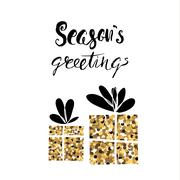 Season's greetings,handwritten vector Christmas calligraphy. Two Gifts from.. Stock Illustration