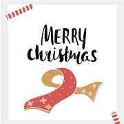 Merry Christmas - Holiday unique handwritten lettering made with ink. Ready.. Stock Illustration