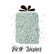 Best wishes. Christmas trendy design greeting card. Holiday winter template.. Stock Illustration