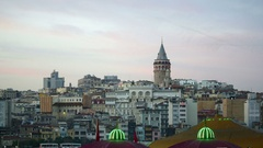 Galata Tower day to night Time Lapse. Istanbul, Turkey Country. 4K UHD timelapse Stock Footage