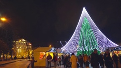 Vilnius, Lithuania - Christmas Fair and Christmas tree in Cathedral Square Stock Footage