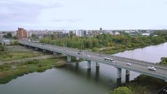 Aerial view bridge over the river Kotorosl in Yaroslavl, Russia Stock Footage