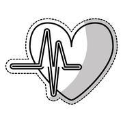 Heart cartoon with cardiogram icon image Stock Illustration
