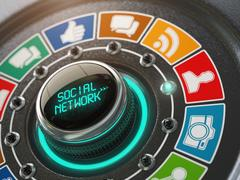 Social network and media concept. Switch knob with social network icons. Stock Illustration