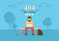 Man with laptop 404 page not found error Stock Illustration
