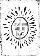 Simple vintage motivational poster, doodles, grunge, diamond, sc Stock Illustration