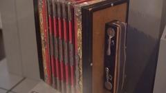 Old vintage unique red accordion, medium shot, shallow DOF Stock Footage