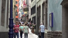 4K Tourist people enjoy shopping street in Koln old town ad sign banner shop day Stock Footage
