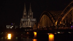 4K Amazing Hohenzollern bridge Koln cathedral building by night iconic landmark Stock Footage