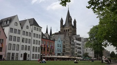 4K Beautiful architecture of old house Koln tourist people relax on green grass  Stock Footage