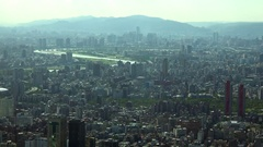 Landscape of Taipei City with skyscrapers and tall buildings, Pan. 4K Stock Footage